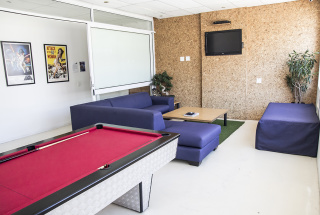 Social Area with TV and Pool Table