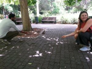 Pam and the squirrels at The Company Gardens