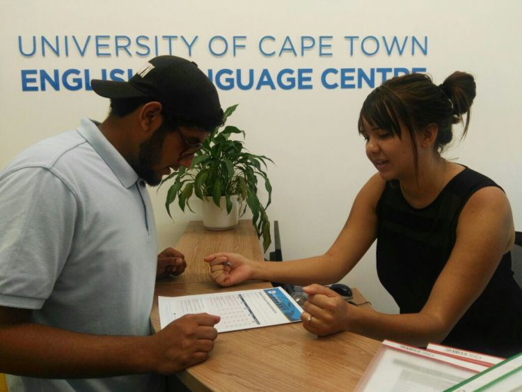 Kirsten with Student | UCT English Language Centre Reception