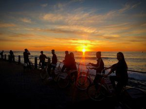 Cycling at Sunset on our Social Programme