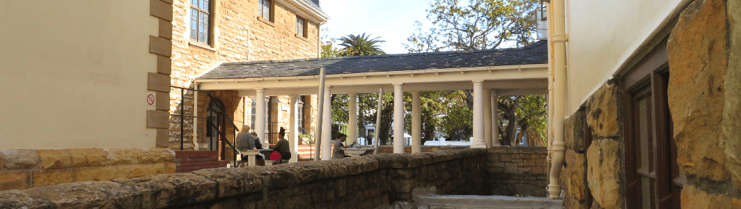 The covered walkway into the Rosedale Building on Hiddingh Campus, University of Cape Town