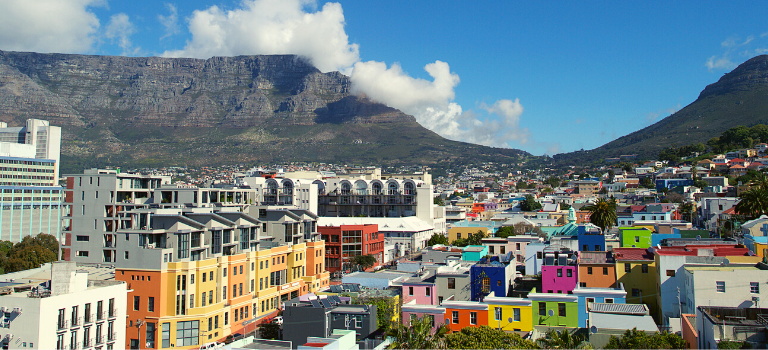 Colourful national heritage site - Bo-Kaap - with views of Signal Hill and Table Mountain