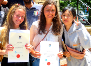 Students receiving course certificates