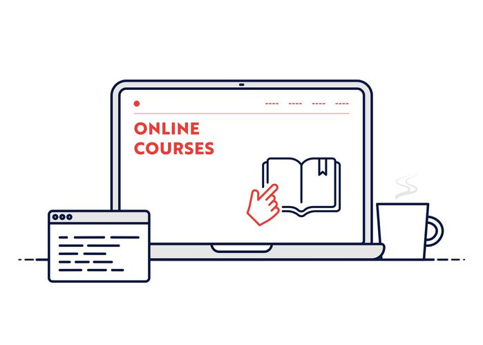Online Courses Concept with Line Laptop Illustration. Minimal Design for Web Banner, Poster, Flyer and Brochure Template.