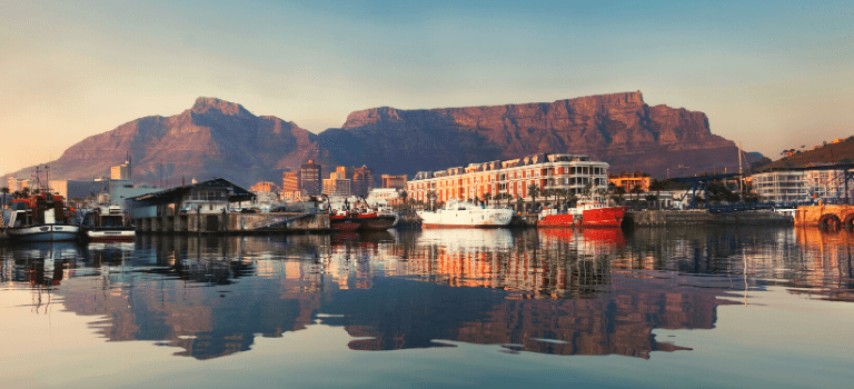 A hotel at the V&A Waterfront in Cape Town, with Table Mountain in the background