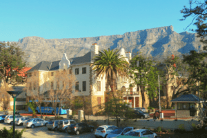 The Rosedale building on Hiddingh campus with Table Mountain in the background