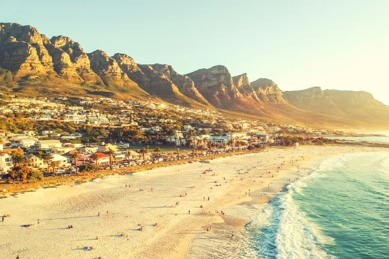 Aerial view of Camps Bay in Cape Town