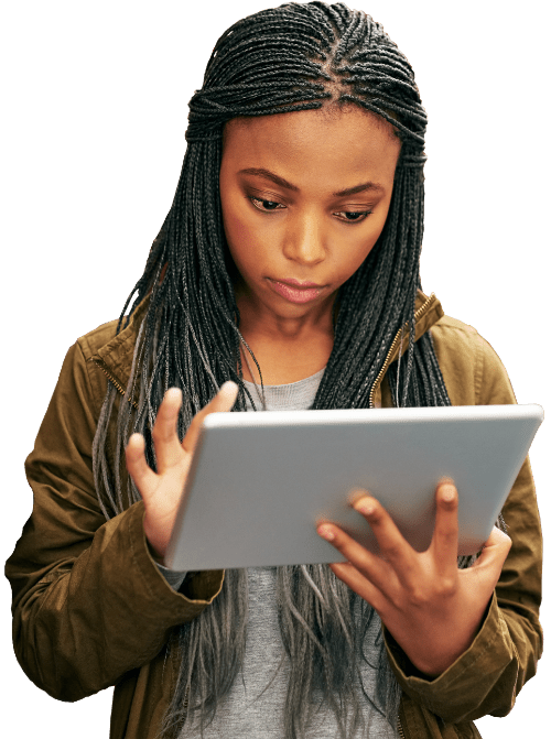 Female student typing on tablet PC