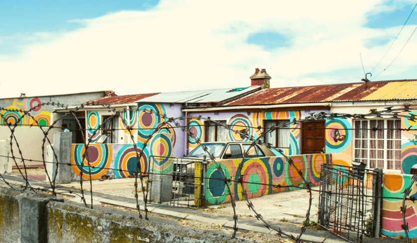 Colourful houses in Langa, Cape Town