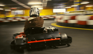A racer karting at Century City