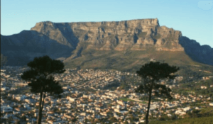 View of the city of Cape Town with Table Mountain in the background