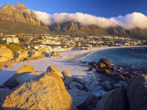 Clifton beach with the 12 Apostles in the background