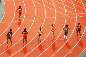 Olympic athletes line up for a race